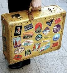 vintage luggage. vintage suitcase. let students create their own sticker for \ luggage k