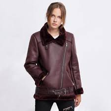 winter faux leather jacket women turn down collar warm street slanted zipper outerwear pockets coats