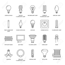 Globe Light Bulb Sizes Light Bulbs Flat Line Icons Led Lamps Types Fluorescent Filament