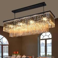 crystal luxury suspension lamp large rectangular pendant light chandelier fabric
