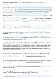 Apartment Sublease Template Template Residential Sublease Agreement Template Word Lease