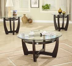 cappuccino finish base glass top modern 3pc coffee table set image 1 of 8