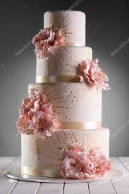 Big Wedding Cake With Eatable Flowers Stock Photo Ygphoto 110225690