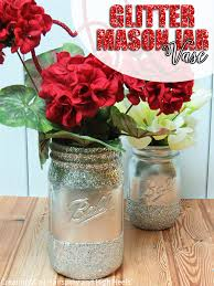 this diy glitter mason jar vase will add some glitz and glamour to your home without