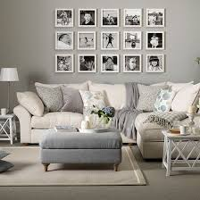 Grey and taupe living room with photo display | Living room decorating |  Ideal Home |