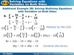 multi step equations with variables both sides multi step equations with variables both sides additional example