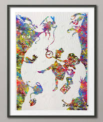 original watercolor alice in wonderland down the rabbit hole poster print pictures canvas painting wall art