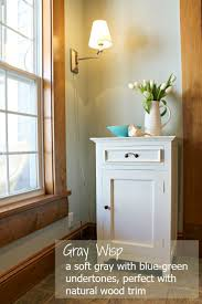 wood trim gray wisp by benjamin moore is a soft muted gray with a subtle blue green undertone perfect with white or natural wood trim