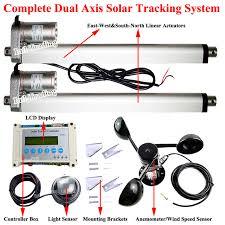 diy solar tracker kit 2 14 linear actuators dc motor dual axis lcd