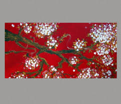 Small Picture White Cherry Blossom Painting SALE Red Gold Sakura painting