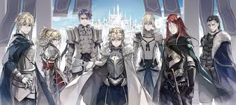 from left to right gawain mordred lancelot artoria bedivere tristan agravain yes mordred is a woman