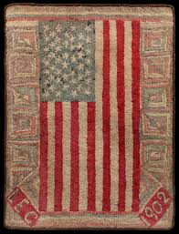 An Important Early American Flag Documented Hooked Rug, Executed by Laura Etta  Clarke, New Hampshire in 1902 – Austin T. Miller