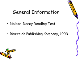 Nelson Denny Score Chart Evaluation Of Nelson Denny Reading Test Mini Project I By