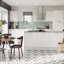 flooring ideas for white gloss kitchen. gloss white shaker fitted kitchen by magnet #whitekitchen #glosskitchen #shakerkitchen flooring ideas for i