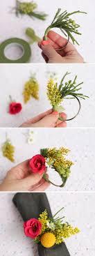 wedding diy fresh flower napkin ring