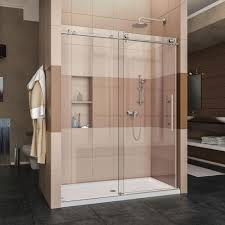 dreamline enigma x 56 in to 60 in x 76 in frameless sliding shower door in brushed stainless steel shdr 61607610 07 the home depot