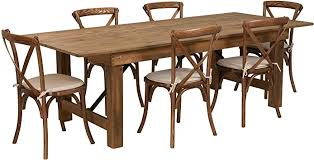 Wood dining chairs, rustic dining chairs, antique chairs, oak dining chairs, reclaimed wood chairs, mid century chairs, farmhouse chairs strongoakswoodshop. Amazon Com Flash Furniture Hercules Series 8 X 40 Antique Rustic Folding Farm Table Set With 6 Cross Back Chairs And Cushions Furniture Decor
