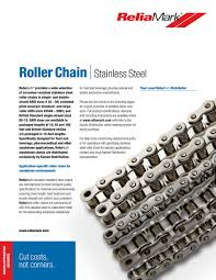 Steel Chain Strength Chart Kaman Distribution Reliamark Stainless Steel Roller Chain
