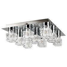 minisun chrome ceiling plate and glass ice cube style 9 way spotlight