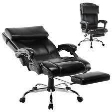 Office reclining chair Desk Executive Reclining Office Chair Ergonomic High Back Footrest Armchair Leather Office Chair Reclining Office Chair Ebay