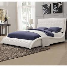 modern style wave design white upholstered bed  free shipping