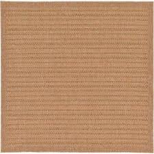 outdoor checd light brown 6 0 x 6 0 square rug light brown gray brown