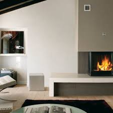 interior black modern electric fireplace design feature metal material and also brown painted header for