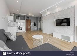 Offenes Wohnzimmer Mit Tv Couch Brick Wall Und Eine Kleine