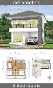 Small Home Plans 7x6.5m with 3 bedrooms#7x65m #bedrooms #home #plans #small  in 2020 | House construction plan, Architectural house plans, Small house  plans