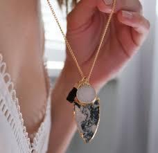 mixed triple semi precious stone pendant necklace