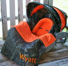 infant car seat cover and hood cover w blanket mossy oak camo and orange minky 1 of 6only 3 available