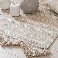 tapis motifs ethniques blanc et doré 120x60cm phoenix maisons du monde
