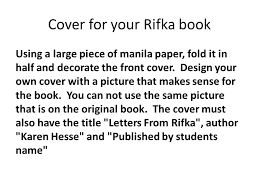 Cover for your Rifka book