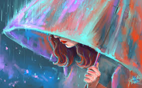 Umbrella Girl Painting Art Wallpaper ...