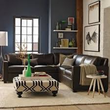blue walls brown furniture. I Like The Shelf Idea, Brown Leather, Sectional With Blue Accent Wall Walls Furniture B