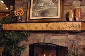 wildlife chorus fireplace mantel with 8 point buck bear and eagle mountain scene