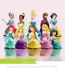 Ariel Cake Decorations Princess Cupcake Toppers Cinderella Belle Aurora Elsa