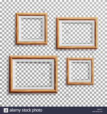Light Wood Framing Realistic Photo Frame Vector Set Square A3 A4 Sizes Light