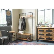 industrial living hallway coat rack and storage bench mango wood and steel