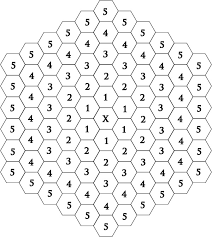 Moves: Think of the Agon board as a series of concentric circles (see  above). Pieces can move one space at a time either in the same ring or the  ring closer ...