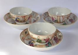 Decorating With Teacups And Saucers Three famille rose teacups and saucers Mandarin decoration 73