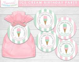 happy birthday pink and green ice cream theme happy birthday party favor tags pink green