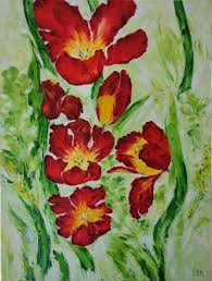 red tulips oil painting on canvas palette knife painting by iryna khmelevska