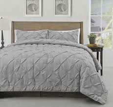 master 2 piece twin size pich pleat comforter set ivory color decorative pintuck bed cover set for all season by cozy beddings queen grey s1603 4q