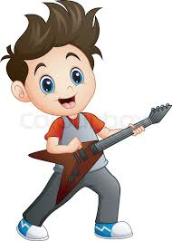 playing cartoon vector illustration of cartoon boy playing electric guitar stock