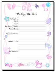 over 30 FREE printable baby book pages. Choose from boy or girl layouts and 8.5 x 11 12 12. And they\u0027re cute, too!