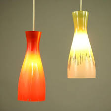 glass shade pendant lamp 1950s for
