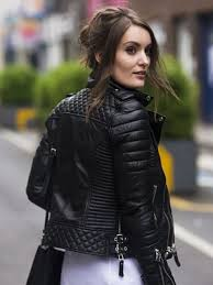 diamond quilted black biker jacket fashion style jacket