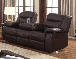 Living Room Furniture Leather And Upholstery Dark Brown Faux Leather Reclining Sofa Drop Down Tea Table Rich
