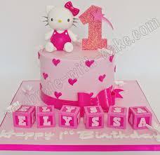 Hello Kitty With Name Blocks Single Tier 1st Birthday Cake